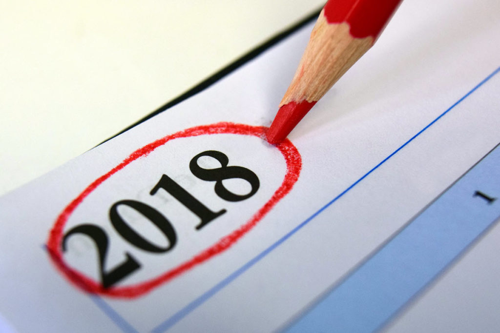 Calendar for 2018 being marked with red pencil