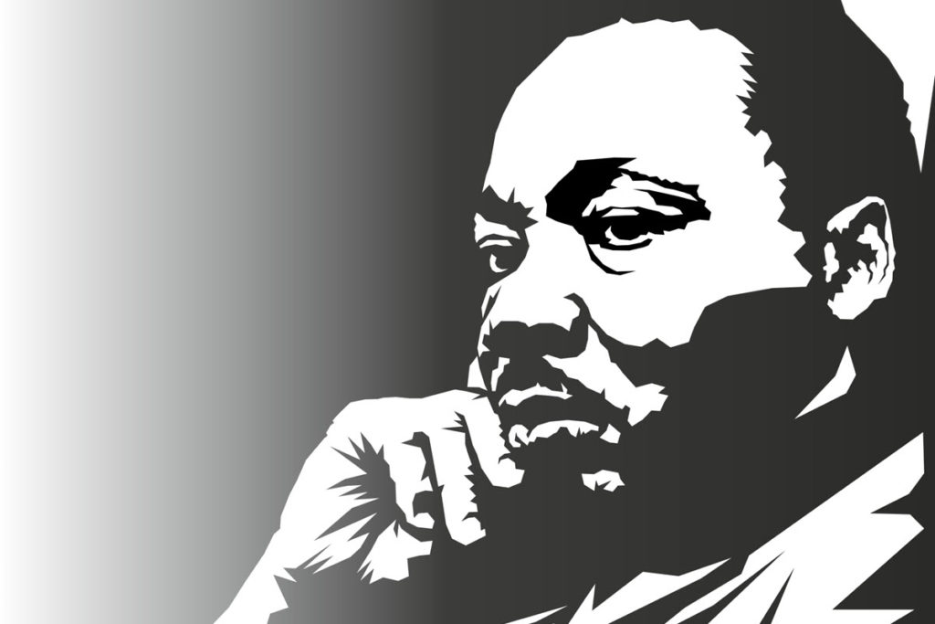 Martin Luther King - black and white portrait image