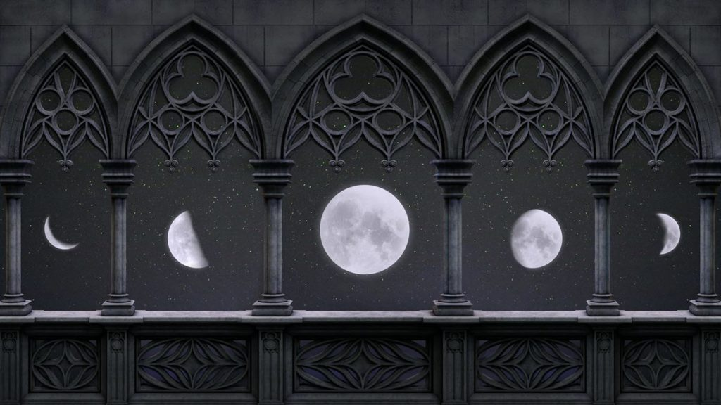Phases of the moon seen through arches