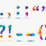 Punctuation marks in rainbow paint splash colors