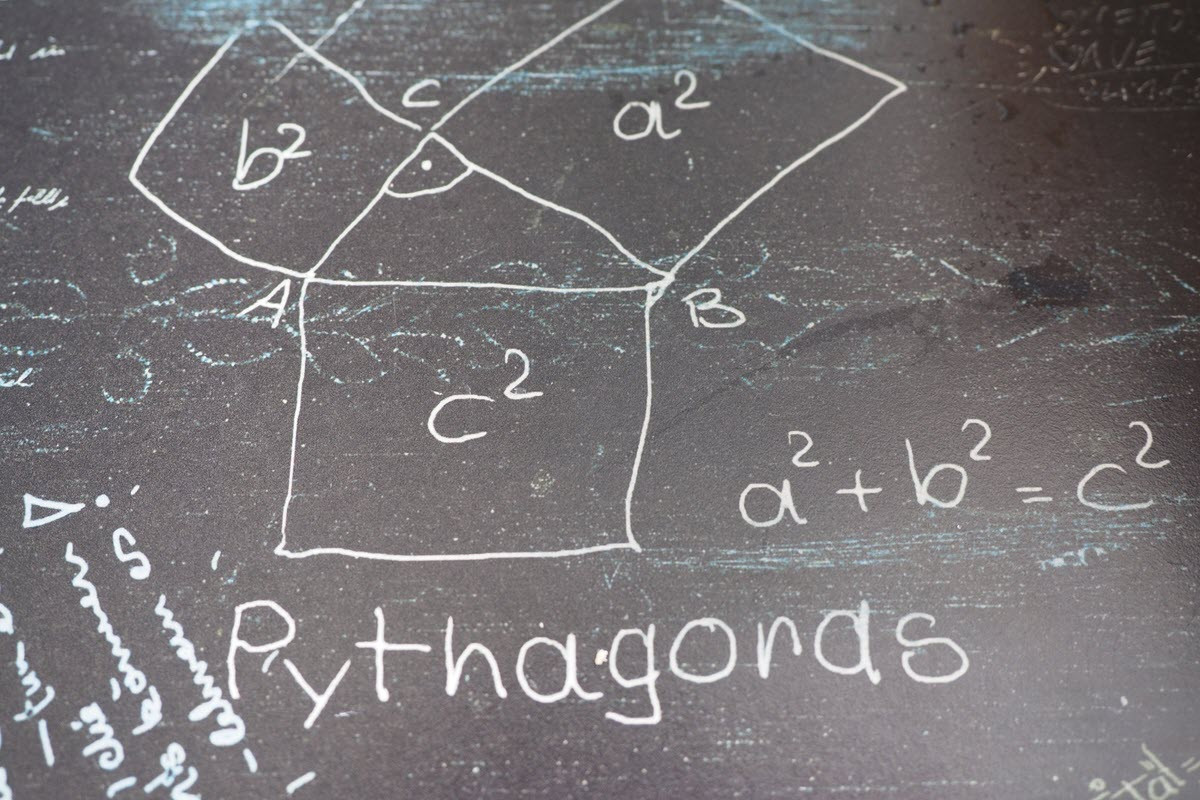 Pythagoras theorem drawn out with white chalk on dark blackboard